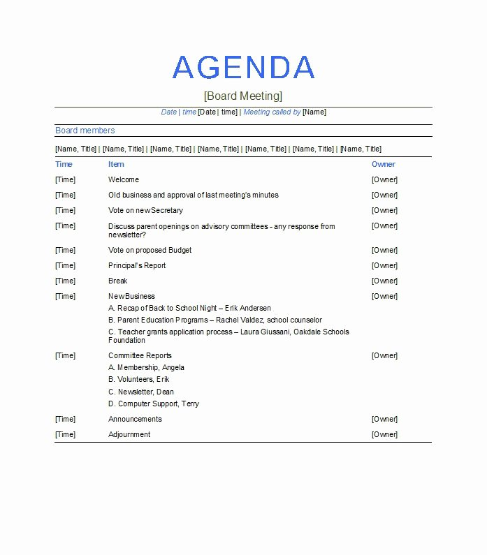 Free Agenda Templates for Word New 51 Effective Meeting Agenda Templates Free Template