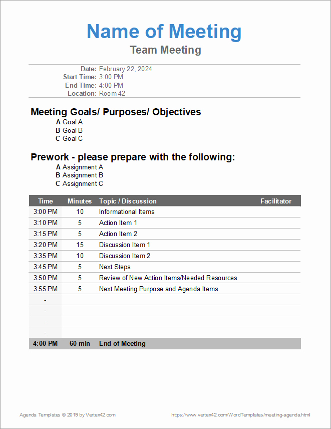Free Agenda Templates for Word Unique 10 Free Meeting Agenda Templates