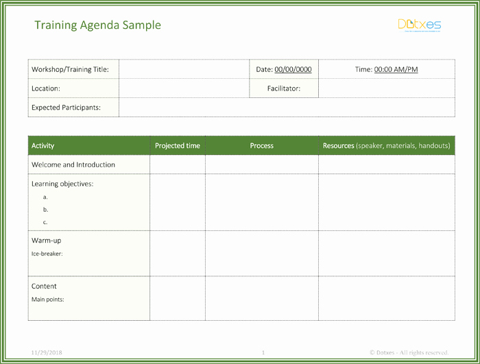 Free Agenda Templates for Word Unique Free Training Agenda Template for Word Effective Agendas