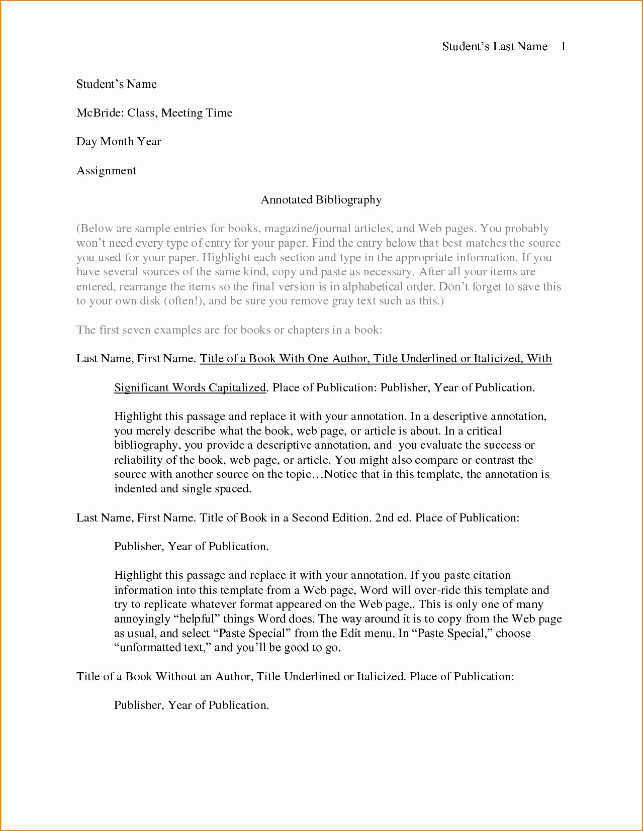 Free Apa format Template Unique Apa Annotated Bibliography Template