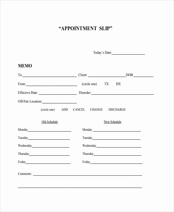 Free Appointment Card Template Beautiful Sample Appointment Slip Template 7 Free Documents