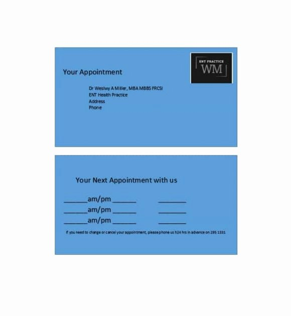 Free Appointment Card Template Best Of 40 Appointment Cards Templates & Appointment Reminders