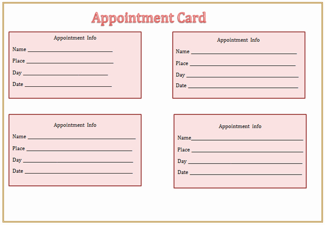 Free Appointment Card Template Best Of Appointment Card Template Microsoft Word Templates