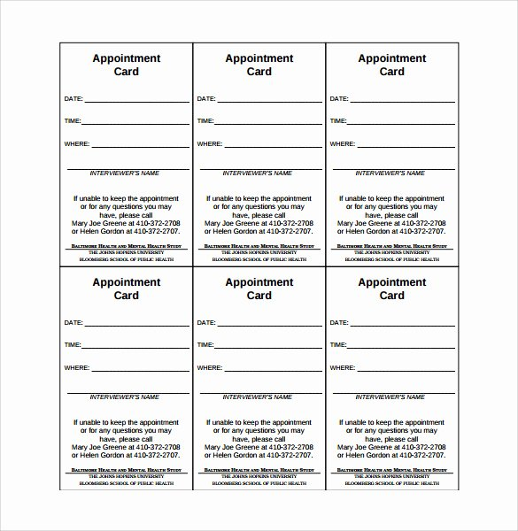 Free Appointment Card Template Best Of Sample Appointment Card 8 Sample Example format