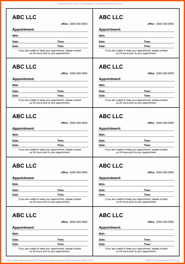 Free Appointment Card Template Elegant 13 Appointment Cards Template
