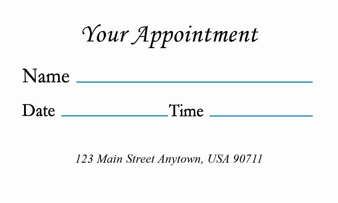 Free Appointment Card Template Elegant Medical Appointment Card with Design