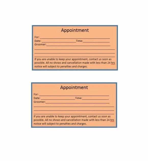 Free Appointment Card Template Fresh 40 Appointment Cards Templates & Appointment Reminders