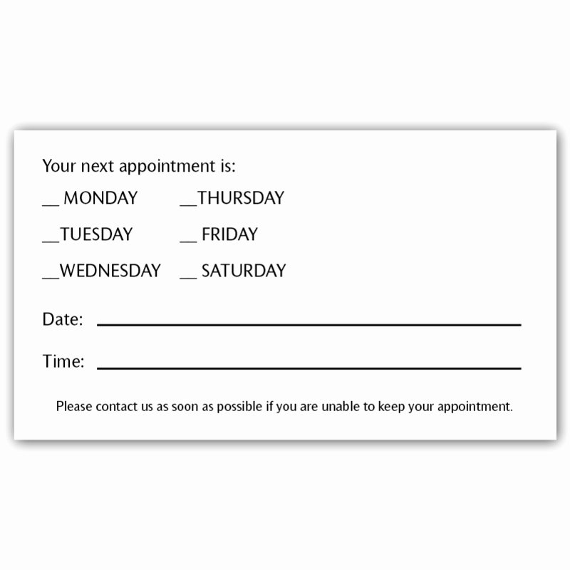 Free Appointment Card Template Inspirational Appointment Cards