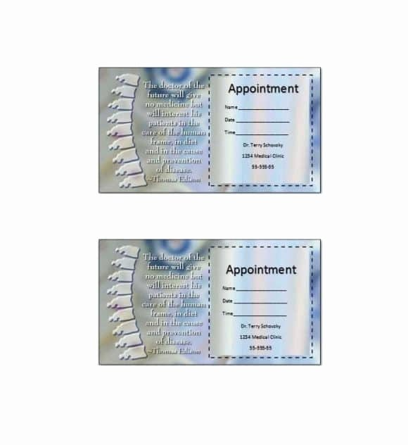 Free Appointment Card Template Lovely 40 Appointment Cards Templates & Appointment Reminders