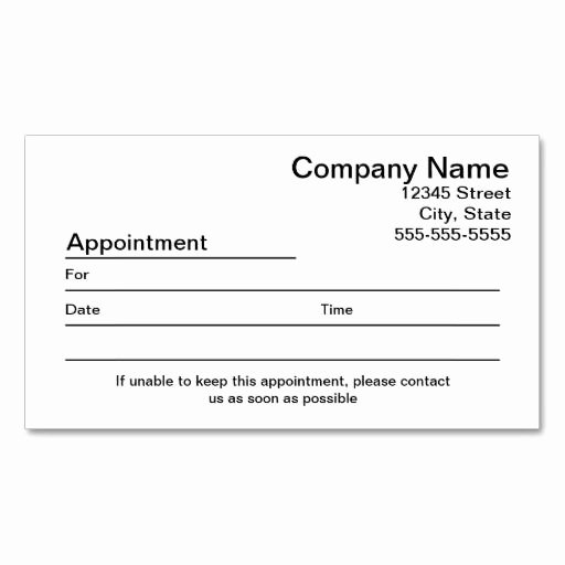 Free Appointment Card Template Lovely Appointment Reminder Business Card
