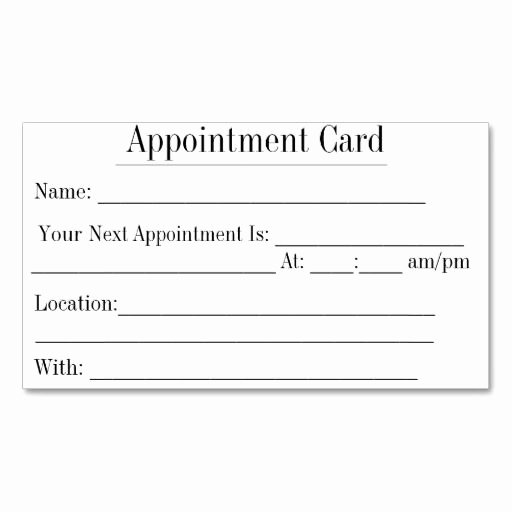 Free Appointment Card Template Lovely Simple Appointment Business Cards In White