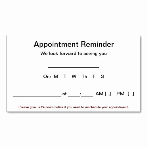 Free Appointment Card Template Luxury Appointment Reminder Cards 100 Pack White Business Card