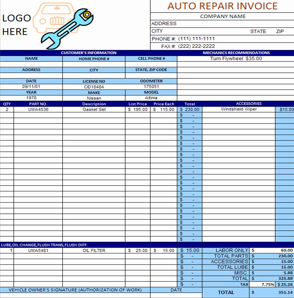 Free Auto Repair Invoice Template Beautiful Download Files September 2011