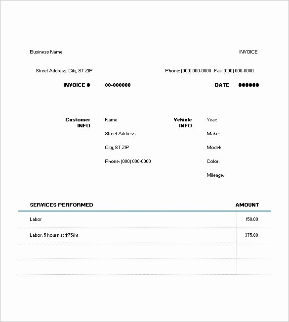 Free Auto Repair Invoice Template Best Of Mechanics Invoice Template Your Affordable solution to