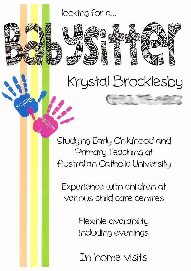 Free Babysitting Flyer Template Beautiful Creative Cute Babysitting Flyers