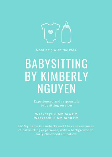 Free Babysitting Flyer Template Inspirational Customize 11 Babysitting Flyer Templates Online Canva
