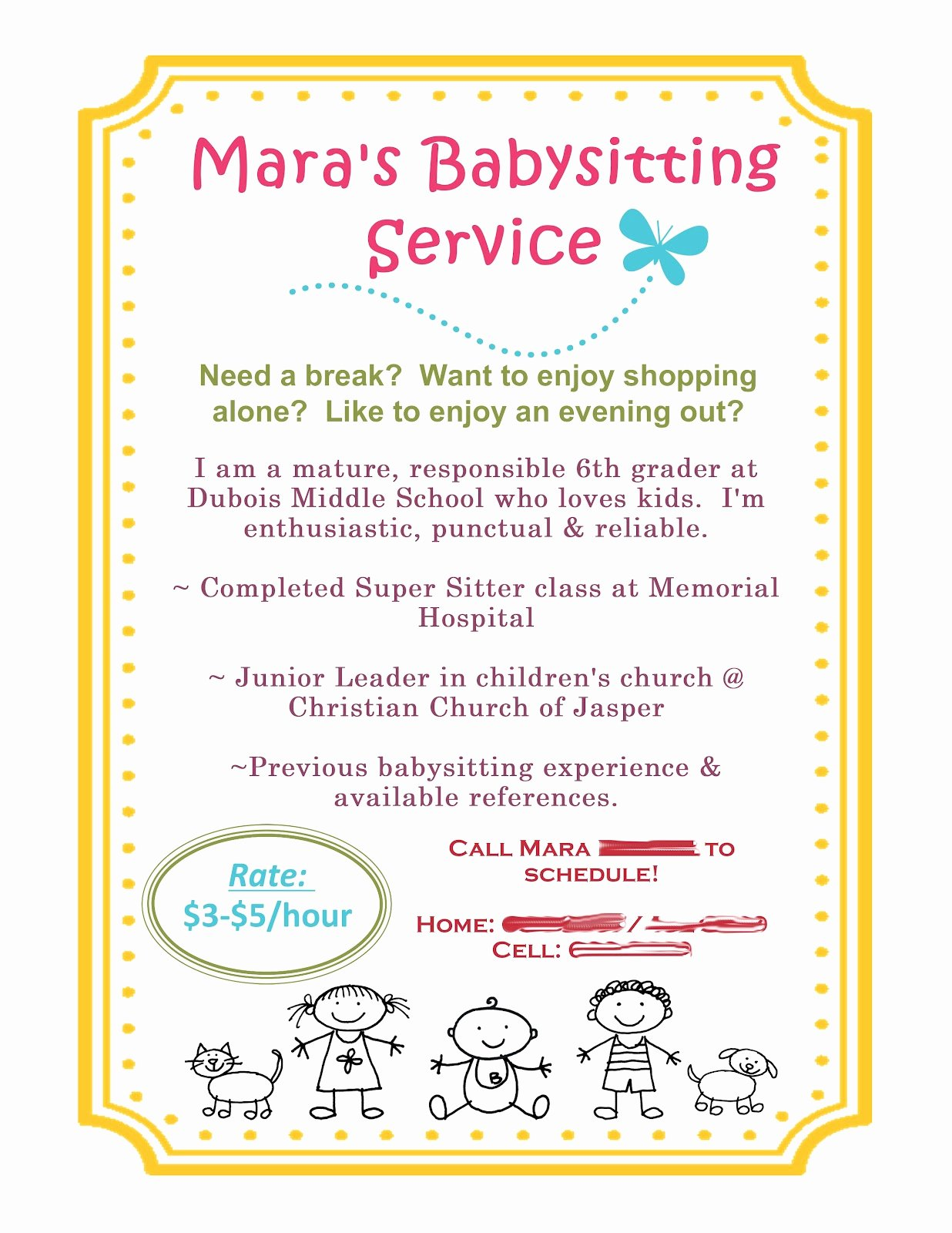Free Babysitting Flyer Template Luxury Scrap Happy Babysitting Flyer Using Mds