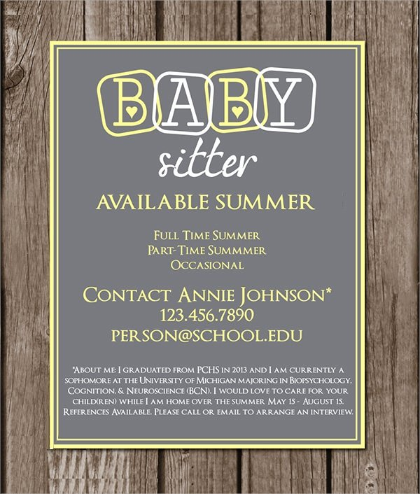 Free Babysitting Flyer Template New 14 Babysitting Flyers Pdf Word Psd Ai Eps Vector