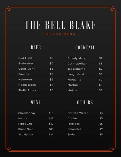 Free Bar Menu Templates Awesome Customize 246 Bar Menu Templates Online Canva