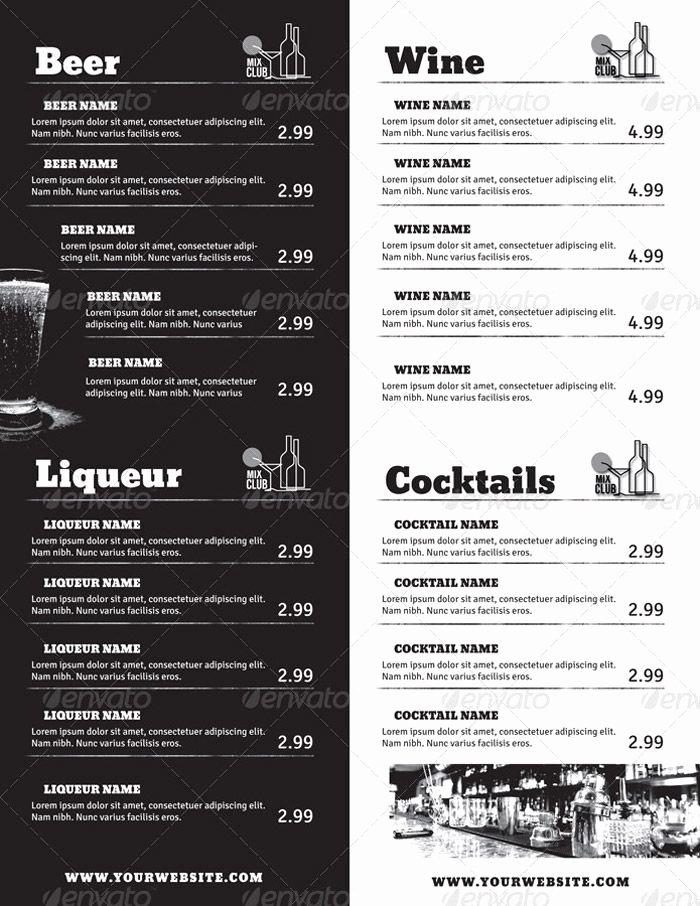 Free Bar Menu Templates Awesome Drink Menu Food Menu Template