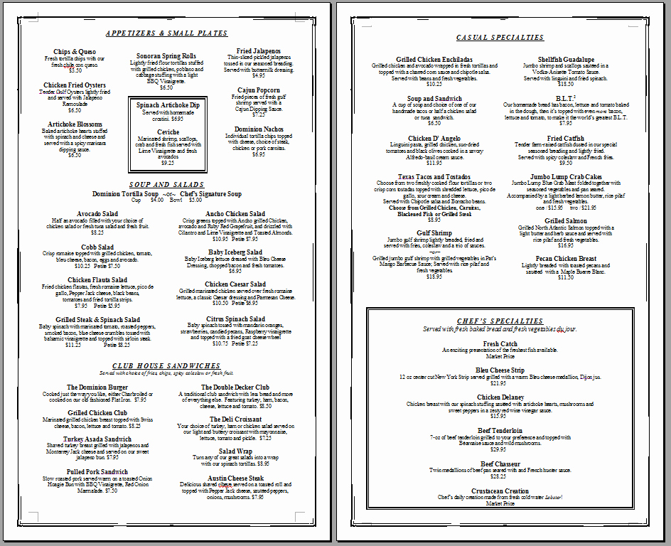 Free Bar Menu Templates Awesome Free Printable Template Restaurant Menus