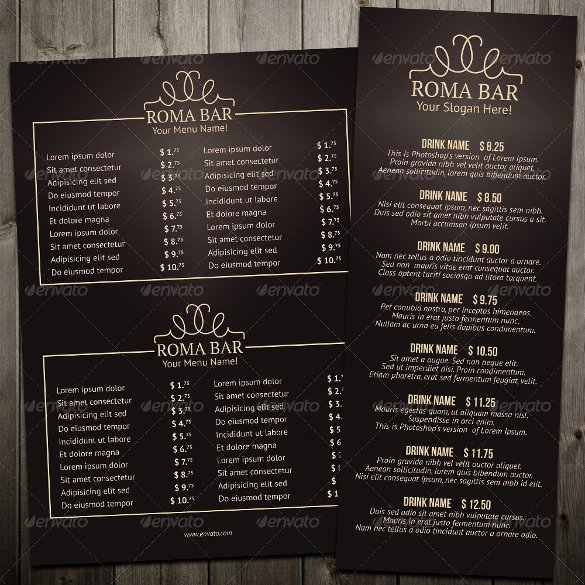 Free Bar Menu Templates Beautiful 24 Bar Menu Templates – Free Sample Example format