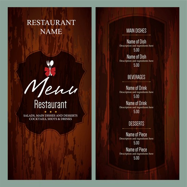Free Bar Menu Templates Beautiful Restaurant Menu Template Free Vector 14 655 Free