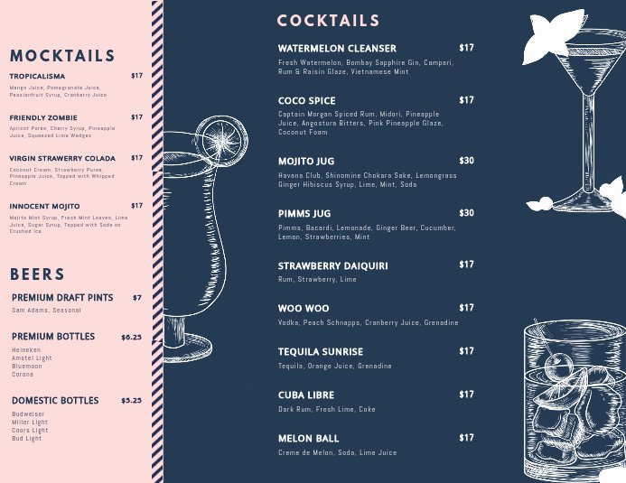 Free Bar Menu Templates Best Of Customize Free Cocktail Menu Templates