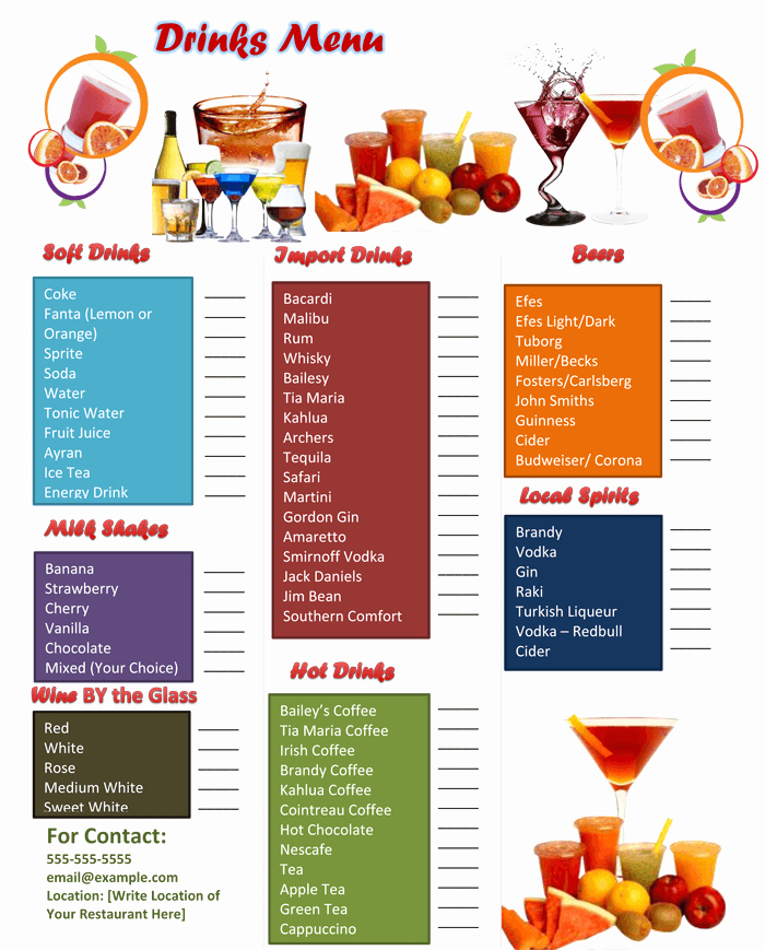 Free Bar Menu Templates Fresh 5 attractive Drink Menu Templates for Your Bar Business