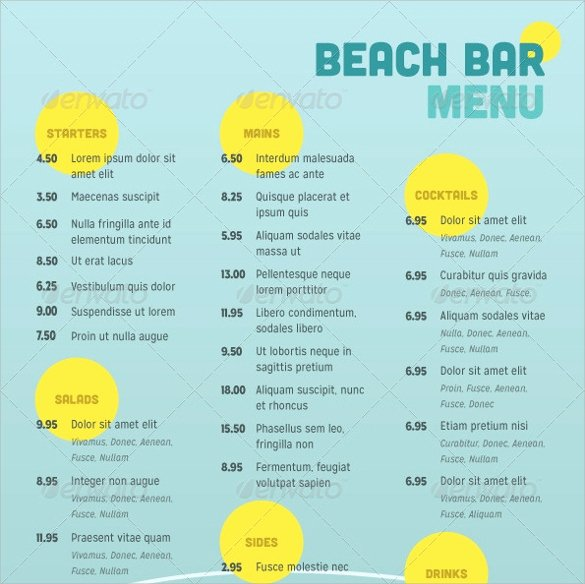 Free Bar Menu Templates Fresh Free 30 Bar Menus Templates In Illustrator