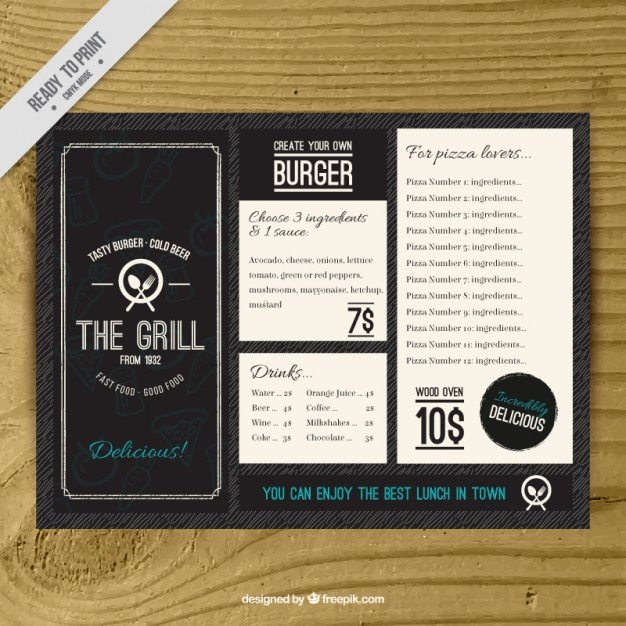 Free Bar Menu Templates Fresh Vintage Burguer Bar Menu Template Vector
