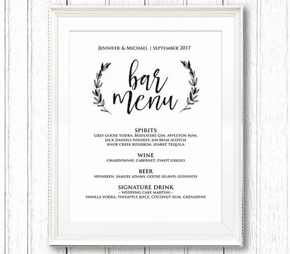 Free Bar Menu Templates Fresh Wedding Bar Menu Sign Printable Reception Sign Template