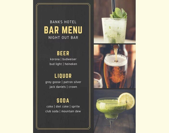 Free Bar Menu Templates Inspirational 23 Printable Premium and Free Drink Menu Templates