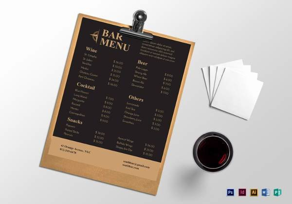 Free Bar Menu Templates Lovely Free 30 Bar Menus Templates In Illustrator