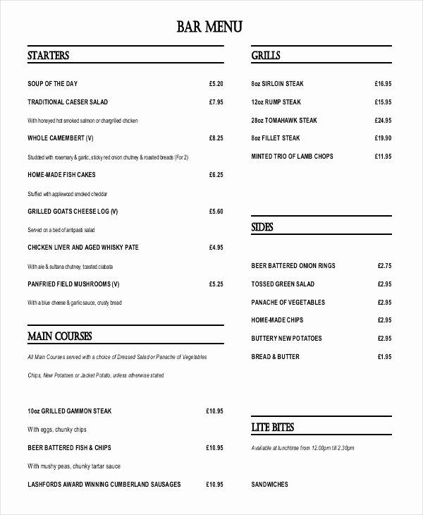 Free Bar Menu Templates Luxury 33 Menu Templates Ai Psd Docs Pages
