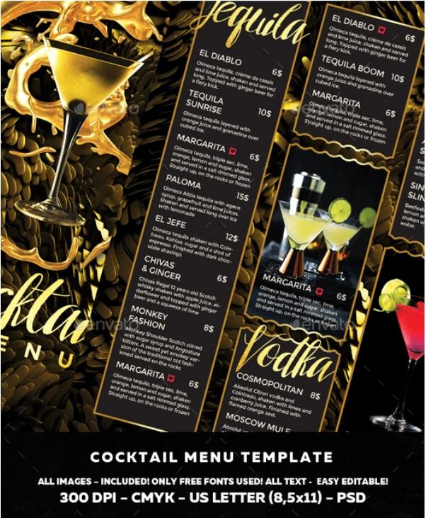 Free Bar Menu Templates Luxury top 37 Free & Low Cost Restaurant Menu Templates