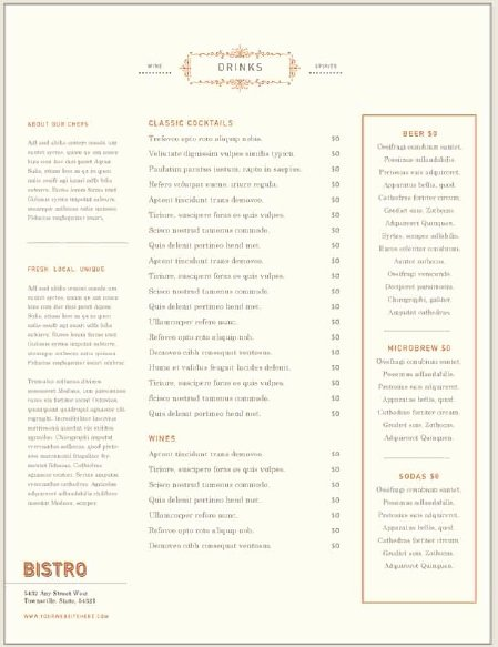 Free Bar Menu Templates Unique 5 Free Sample Bar Menu Templates Printable Samples