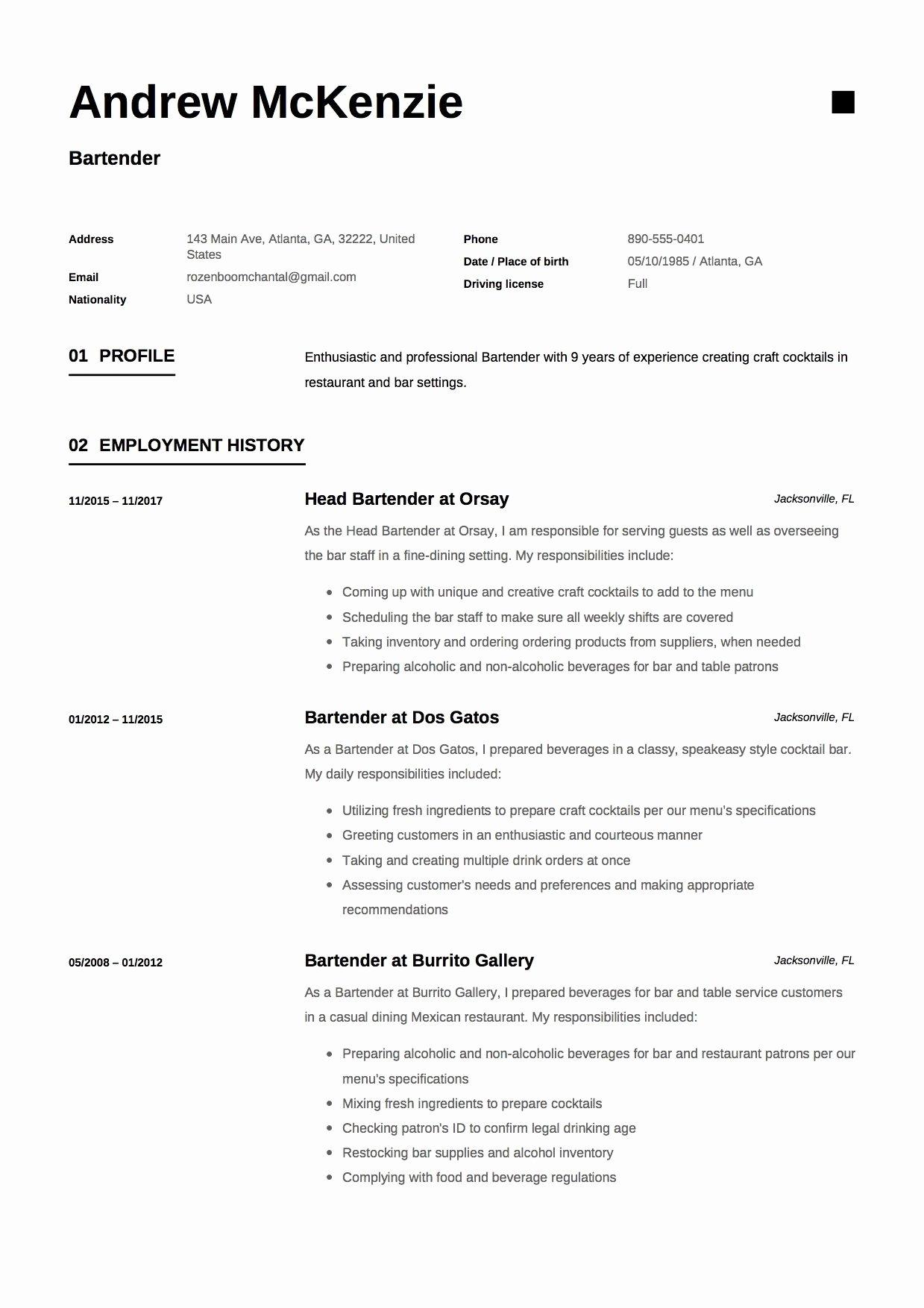 Free Bartender Resume Templates Fresh Free Bartender Resume Sample Template Example Cv