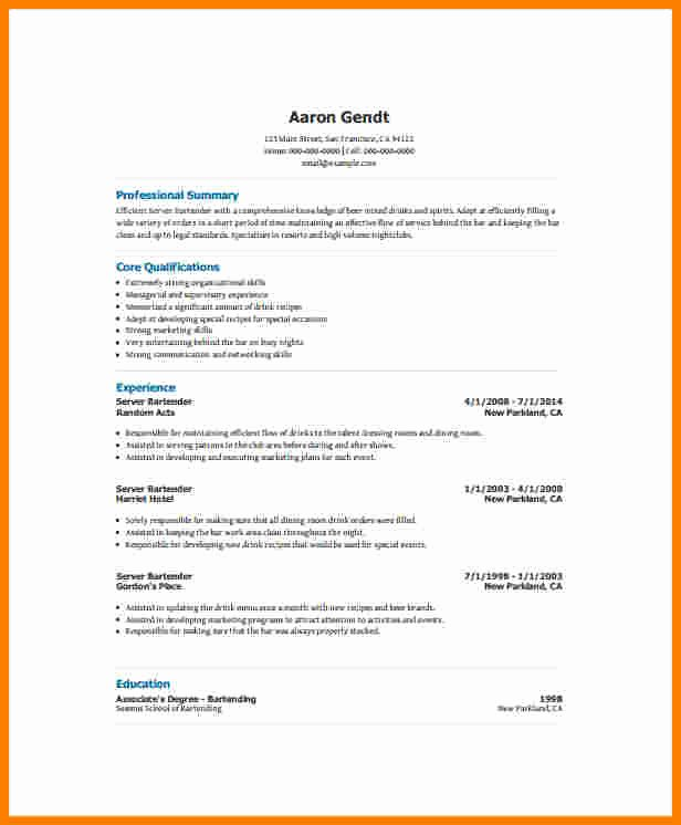 Free Bartender Resume Templates Luxury 10 Free Bartender Resume Templates