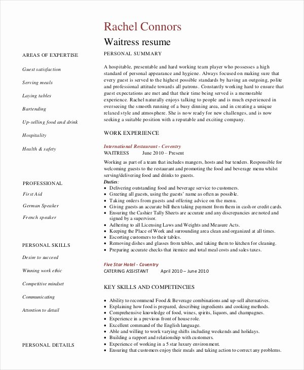 Free Bartender Resume Templates Unique Bartender Resume Templates