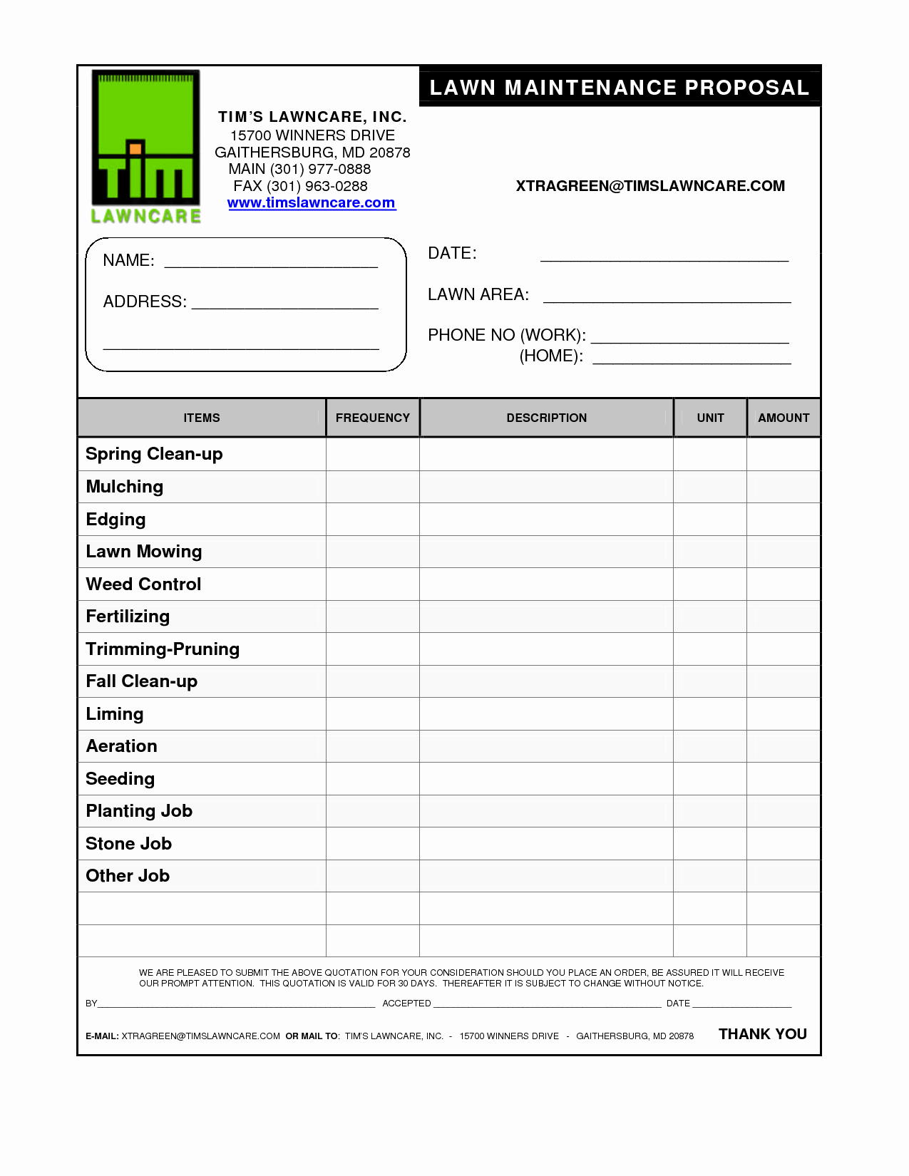 Free Bid Proposal Template Awesome Lawn Service Proposal Template Free