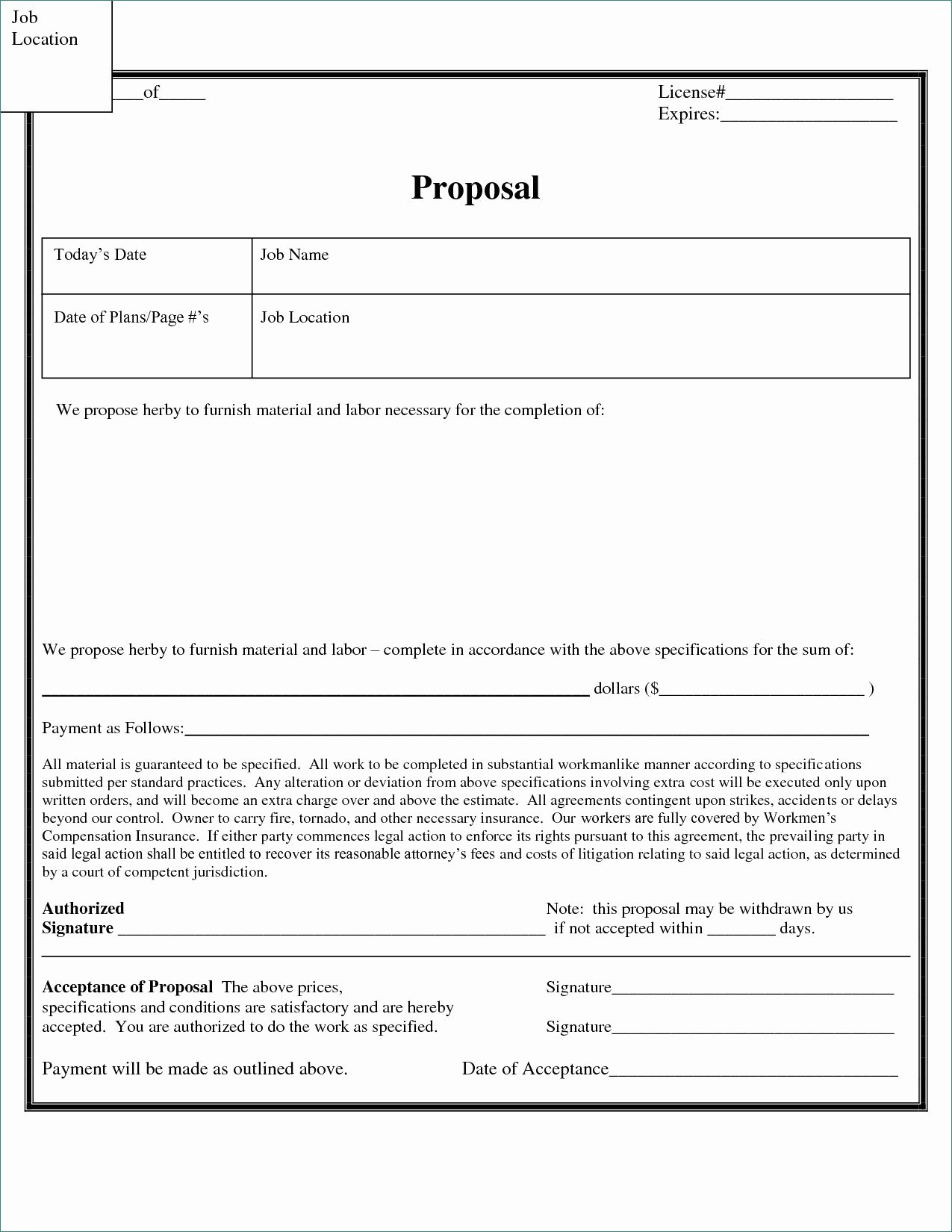Free Bid Proposal Template Luxury Free Construction Proposal forms – Free Estimate