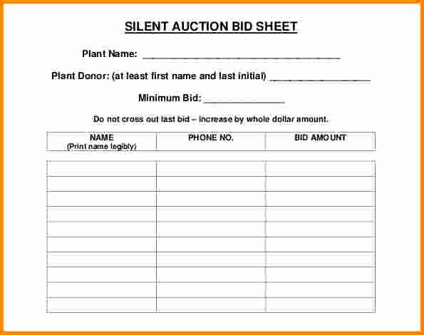 Free Bid Sheet Template Awesome 30 Silent Auction Bid Sheet Templates [word Excel Pdf]