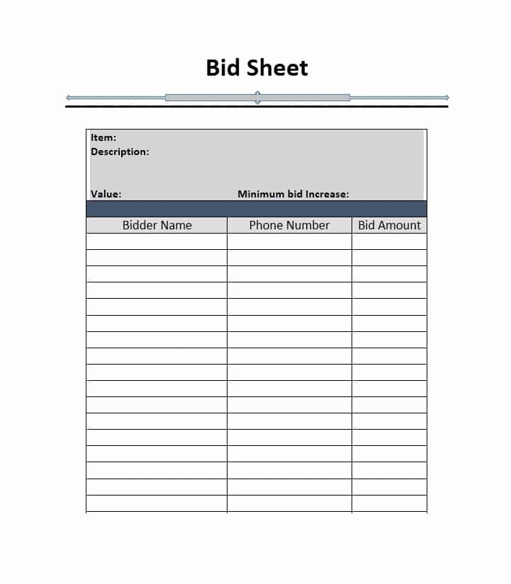 Free Bid Sheet Template Awesome Silent Auction Bid Sheet Template Free Word Printable