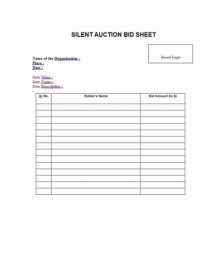 Free Bid Sheet Template Elegant Free Silent Auction Bid Sheet Templates Word Excel