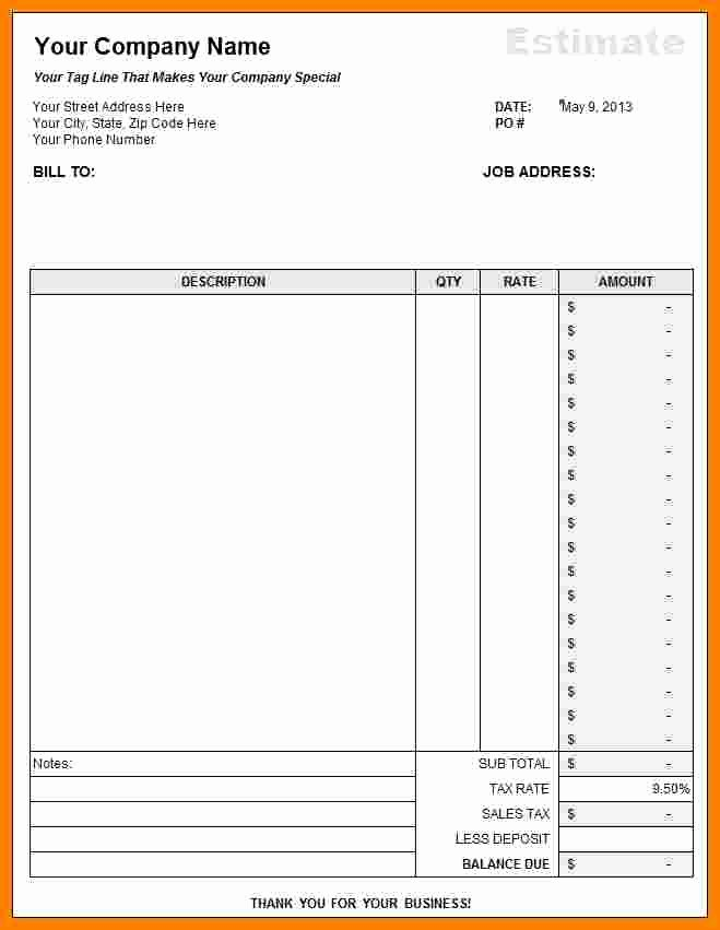 Free Bid Sheet Template Inspirational 7 Free Construction Estimate Template Pdf