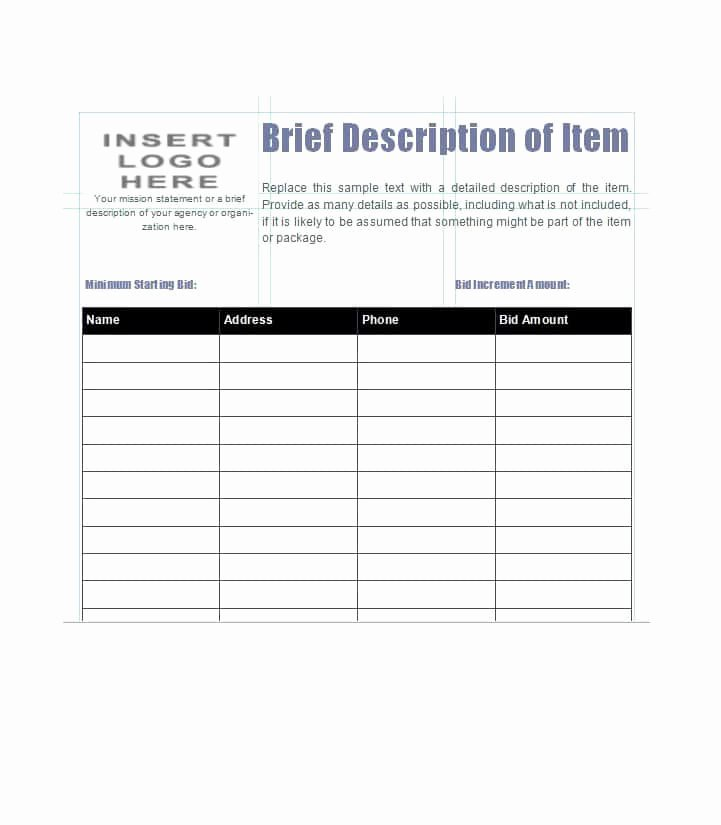 Free Bid Sheet Template Lovely 40 Silent Auction Bid Sheet Templates [word Excel