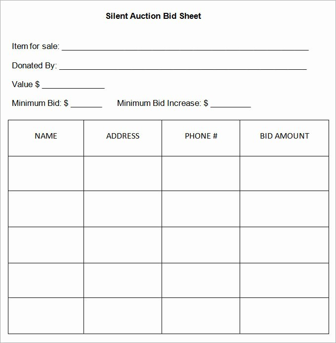 Free Bid Sheet Template Luxury 20 Silent Auction Bid Sheet Templates & Samples Doc