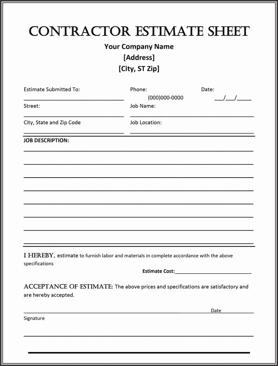 Free Bid Sheet Template New 44 Free Estimate Template forms [construction Repair