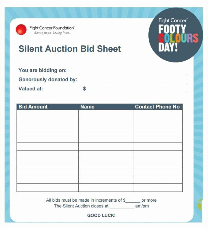 Free Bid Sheet Template New Silent Auction Bid Sheet Template 29 Free Word Excel